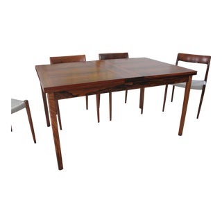 Rosewood Flip Open Leaf Dining Table by Skaraborgs Sweden For Sale