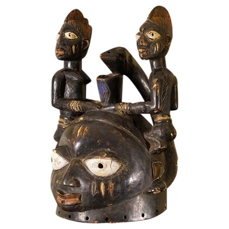 Yoruba African Tribal Helmet Mask - Image 1 of 10