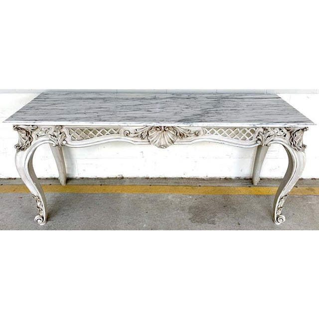 French neoclassical grey painted marble-top console table, of rectangular form with beautiful Carrera marble top, raised...