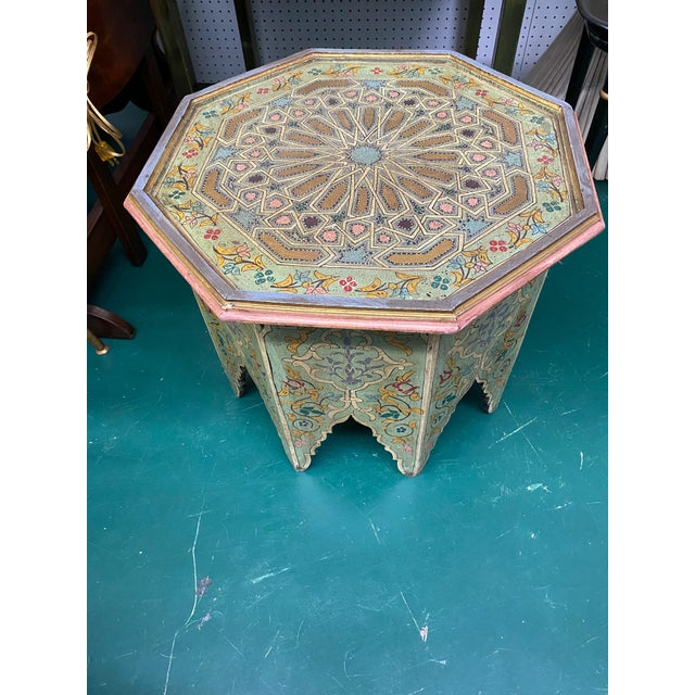 1970s Moorish Octagonal Hand Painted Accent Table For Sale In Miami - Image 6 of 9