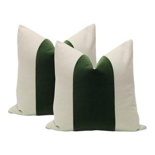 "22"" Fern Velvet Panel & Linen Pillows - a Pair"