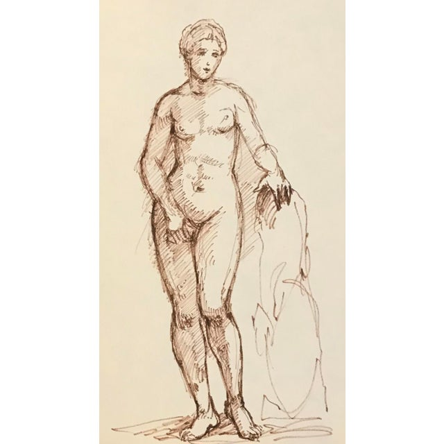 Figurative Drawing of Standing Mythological Female Nude For Sale - Image 3 of 3