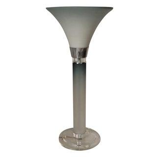 Lucite Chrome & Glass Column Lamp
