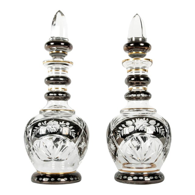 Pair of Etched Crystal Decanter For Sale