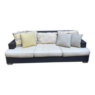 Restoration Hardware Del Mar Sofa with Linen Cushions For Sale