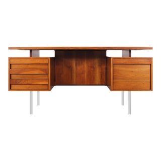 Vintage Executive Walnut and Chrome Desk by John Keal For Sale