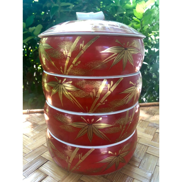 Chinese Gilt Porcelain Bamboo Jubako Wedding Jewelry Stacking Box For Sale - Image 10 of 10