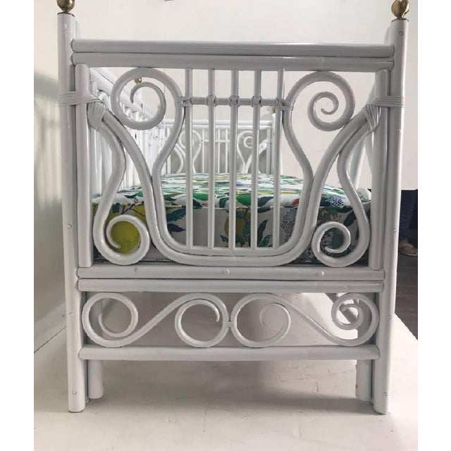 Vintage Lyre Rattan Daybed For Sale In West Palm - Image 6 of 8