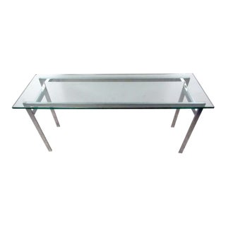 Mid-Century Milo Baughman Style Chrome and Glass Console Table For Sale