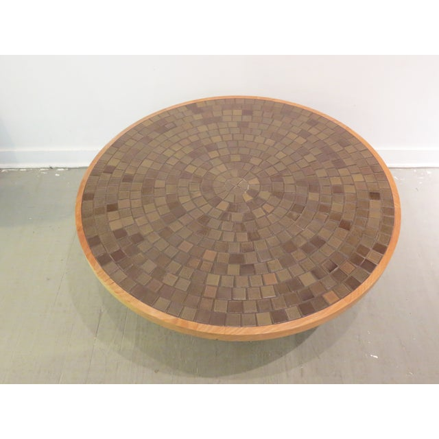 Vintage Round Martz Tile Top Coffee Table - Image 3 of 7