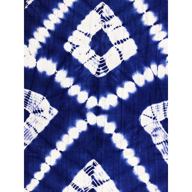 "Metal African Bogolan Textile Mud Cloth Blue & White 40"" by 62 For Sale - Image 7 of 8"
