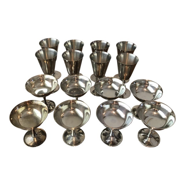 1960s Art Deco Silver Plated Italian Holiday Goblets and Champagne Glasses - 17 Pieces For Sale