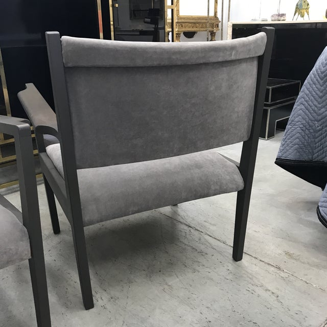 1950s Jens Risom Gray Velvet Armchairs - a Pair For Sale - Image 11 of 13