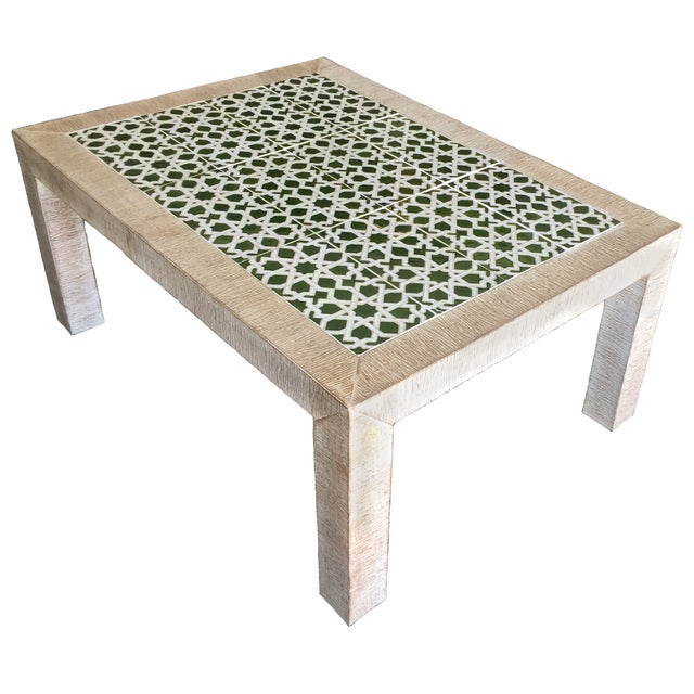Mid-Century Combed Wood And Tile Cocktail Table - Image 6 of 7
