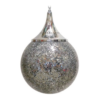 Crackled Mirror Globe Pendants by Fabio Ltd For Sale