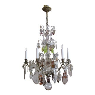 Antique 1920s Italian Bronze and Murano Glass Fruit Crystal Chandelier For Sale