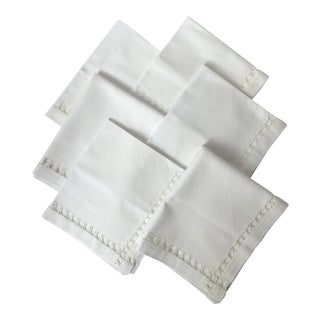 Antique Hand-Stitched White Linen Dinner or Luncheon Napkins - Set of 6 For Sale