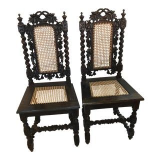 Restored 18th Century Spanish Carved Walnut Chairs - a Pair For Sale