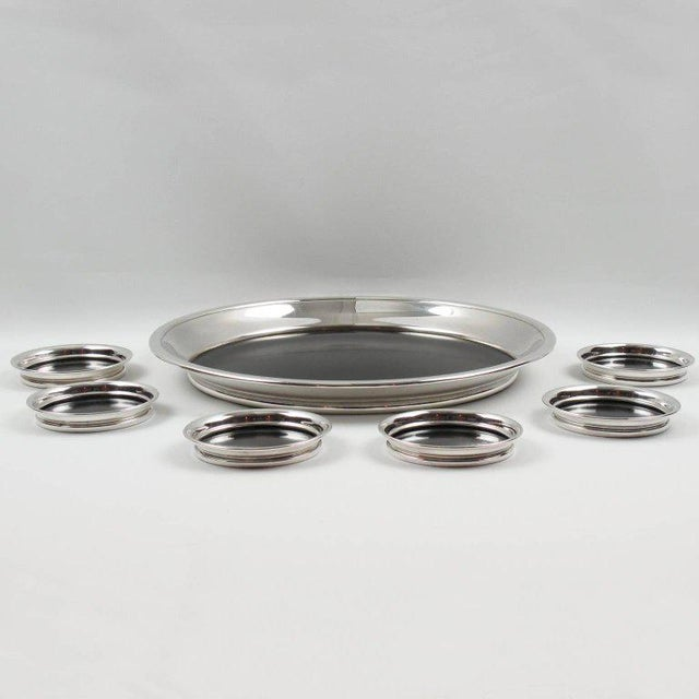 Mid-Century Modern F. B. Rogers Barware Serving Tray and Coasters Silver Plate and Bakelite For Sale - Image 3 of 9