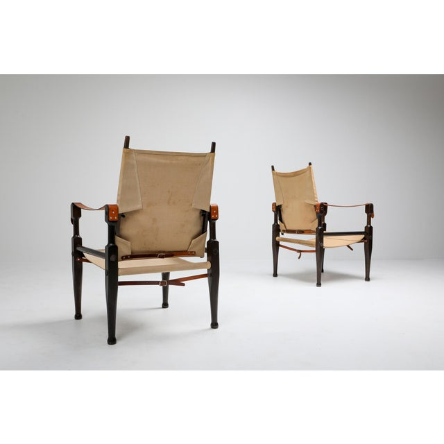 Canvas Safari Chairs Designed by Kaare Klint for Rud Rasmussen - 1960s For Sale - Image 7 of 13