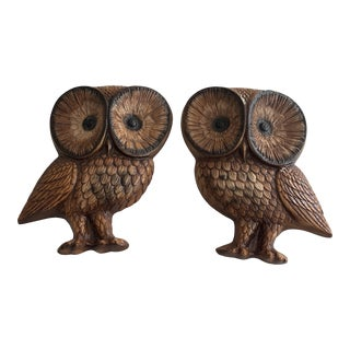 Large MidCentury Modern 1960s Chalkware Owl Plaques- a Pair For Sale