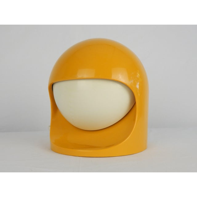 """1970s Japanese Lightolier """"Interplay II"""" desk lamp. Composed of molded yellow plastic 'space helmet' frame with dual..."""