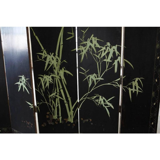 Chinese 12-Panel Double Sided Gold Black Lacquered Coromandel Screen For Sale - Image 10 of 10
