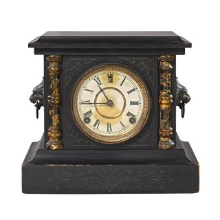 Sessions Late 19th Century Black Mantle Clock With Roman Columns and Lion Head Handles For Sale