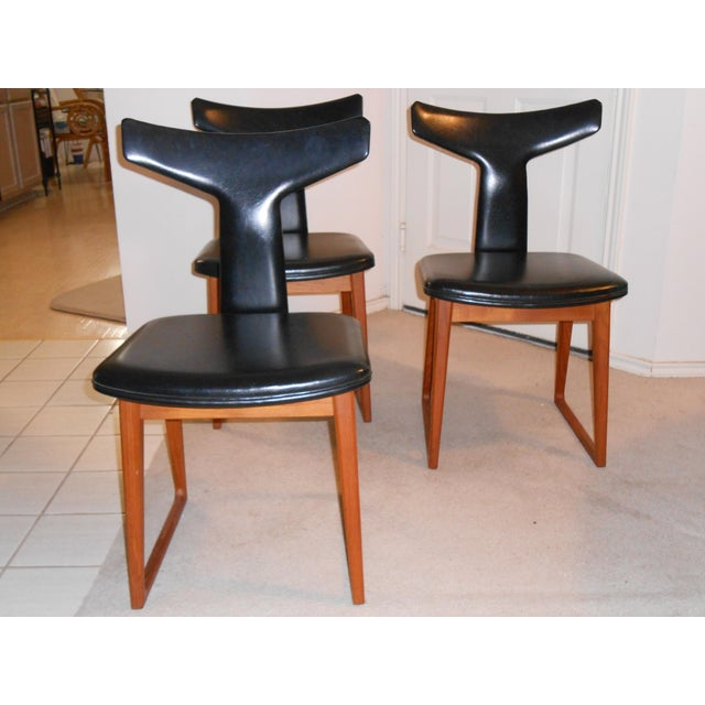 Arne Vodder for Sibast Gate Leg Teak Dining Table With 6 T-Back Black Leather Dining Chairs For Sale In San Antonio - Image 6 of 11