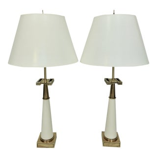 Mid-Century Modern Tommi Parzinger for Stiffel Greek Key Lamps - a Pair For Sale