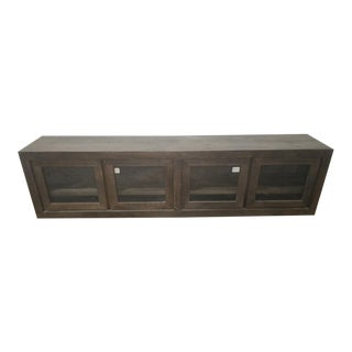 Restoration Hardware Rustic Reclaimed Russian Oak Glass 4 Door Media Console For Sale
