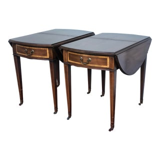 Antique Pembroke Drop Leaf Tables With Inlay - a Pair For Sale
