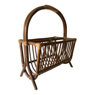 1970s Mid-Century Rattan Magazine Rack For Sale