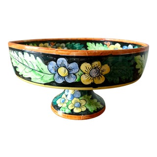 Vintage Italian Pottery Floral Compote For Sale