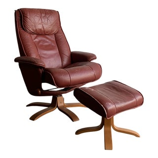 Danish Modern Recliner and Ottoman For Sale