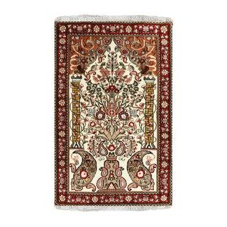 Beige Wool Sarouk Rug- 3′8″ × 5′4″ For Sale