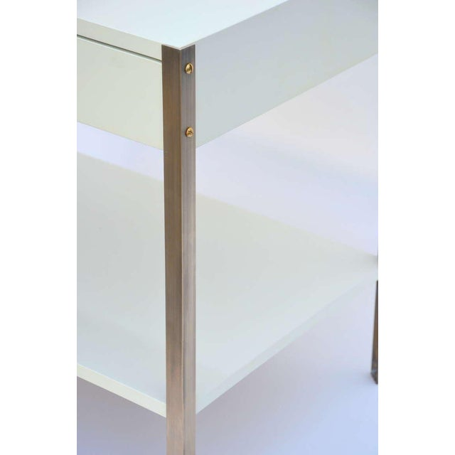 Metal Pair of Minimalist Ivory Lacquer and Brass Nightstands For Sale - Image 7 of 11