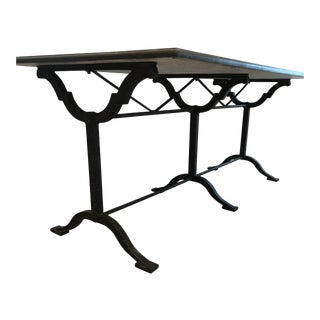 French Country Arhaus Blue Stone Dining Table For Sale
