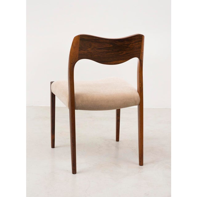 Set of Six Niels Moller Dining Chairs Model #71 in Rosewood and Velvet Mohair For Sale In Santa Fe - Image 6 of 11