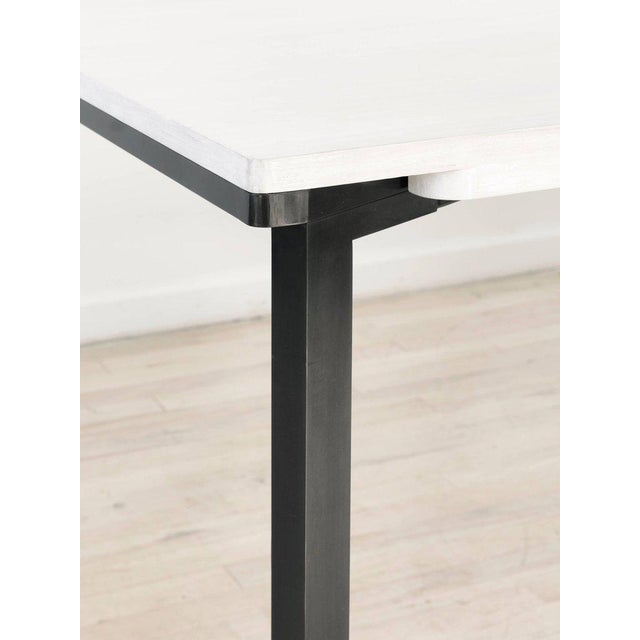 Not Yet Made - Made To Order Contemporary Blackened Steel and White Washed Maple Bow Tie Table For Sale - Image 5 of 7