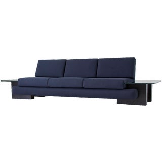 Kroehler Sofa with Glass End Tables For Sale