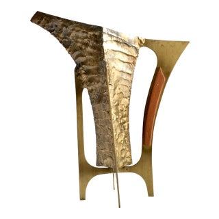 Mid-Century Modern Brutalist Brass & Teak Pitcher