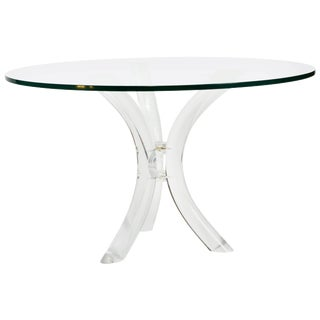 Sabre Bent Lucite Table With Glass Top For Sale