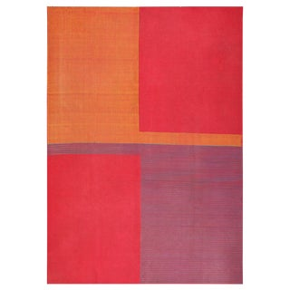 Vintage French Art Deco Flat-Woven Room Size Rug - 8′ × 11′4″ For Sale