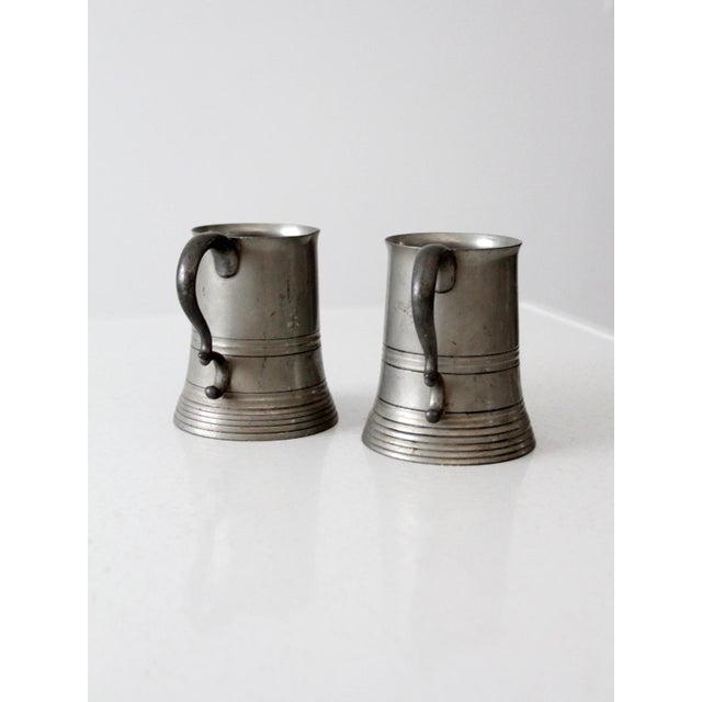 Cabin Antique Pewter Glass Bottom Tankards - a Pair For Sale - Image 3 of 13