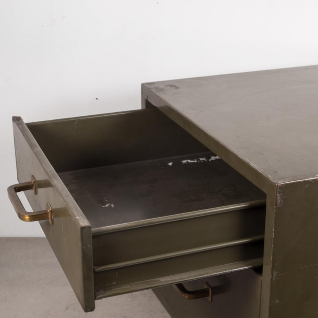 Industrial Factory Two Drawer Cabinet With Brass Pulls C.1940 For Sale - Image 4 of 12