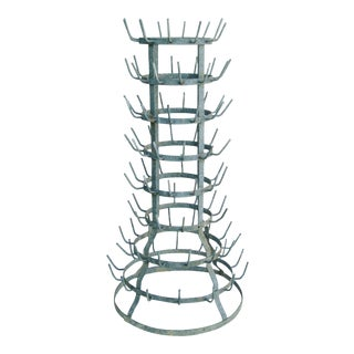 Early 1900s French Zinc Bottle Drying Rack For Sale