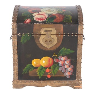 Small Vintage Scandinavian Folk Art Floral Painted Chest For Sale
