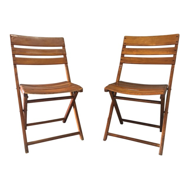 Vintage Rustic Slat Wood Folding Chairs - A Pair - Image 1 of 9