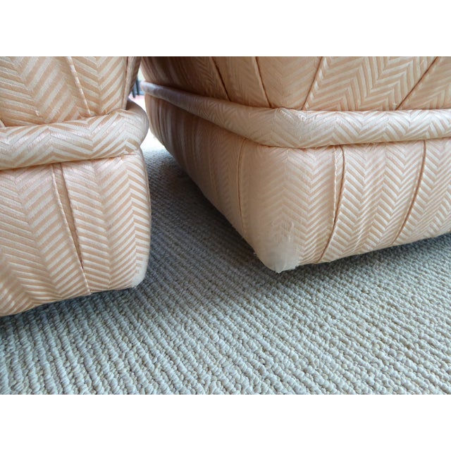 Pair of Hollywood Glam Poufs on Casters 1970s For Sale - Image 10 of 11